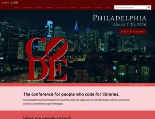 2016.code4lib.org screenshot