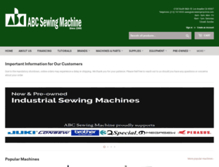 abcsewingmachine.com screenshot