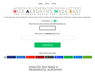 acronymgeneratornet screenshot 70100 acronym generator from letters