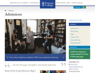admissions.pomona.edu screenshot