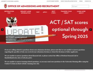 admissions.wisc.edu screenshot