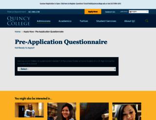 apply.quincycollege.edu screenshot
