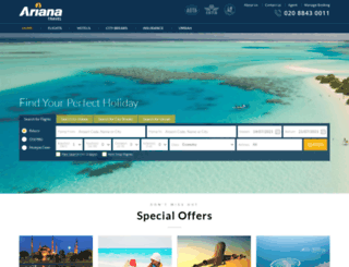 arianatravel.co.uk screenshot
