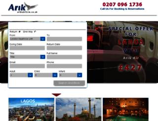 arikairline.co.uk screenshot