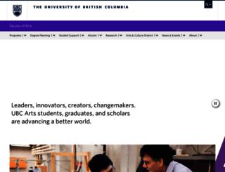 arts.ubc.ca screenshot