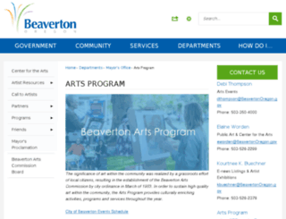 beavertonarts.com screenshot