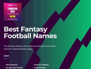 bestfantasyfootballnames.com screenshot