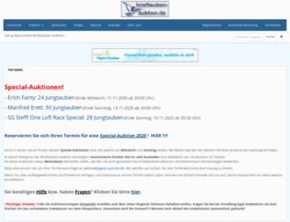 brieftauben-auktion.de screenshot
