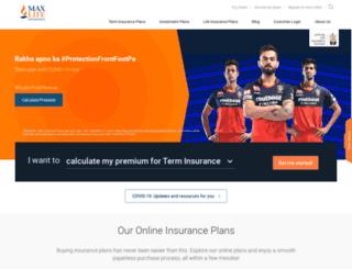 buyonline.maxlifeinsurance.com screenshot