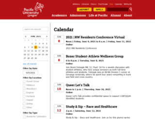 calendar.pacificu.edu screenshot