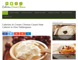 caloriescreamcheese.com screenshot