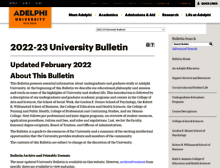 catalog.adelphi.edu screenshot