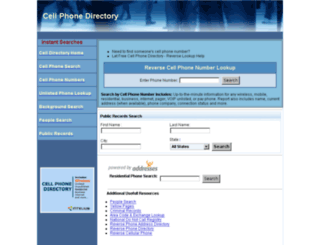 cellphonedirectory.com screenshot