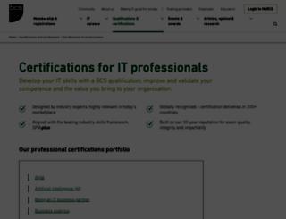 certifications.bcs.org screenshot