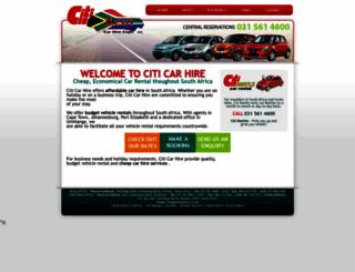 citicarhire.co.za screenshot