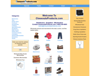 closeoutsproducts.com screenshot