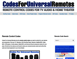 codesforuniversalremotes.com screenshot
