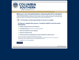 columbiasouthern.studentaidcalculator.com screenshot