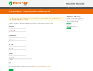 community.nexenta.com screenshot
