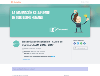curso-unam-2016.boletia.com screenshot