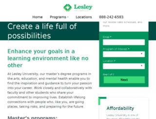 degrees.lesley.edu screenshot