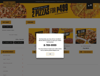 delivery.yellowcabpizza.com screenshot