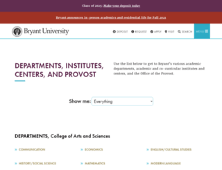departments.bryant.edu screenshot