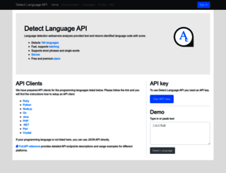 detectlanguage.com screenshot
