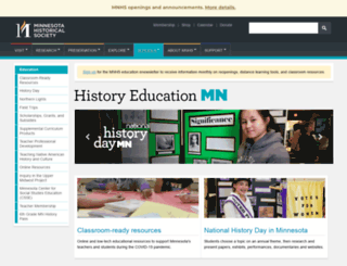 education.mnhs.org screenshot