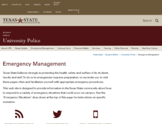 emergencyinfo.txstate.edu screenshot