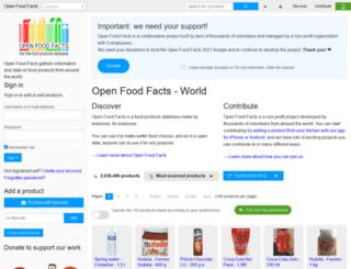 en.openfoodfacts.org screenshot