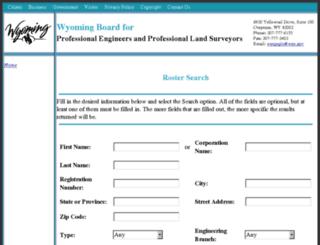 engineersroster.wyo.gov screenshot