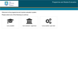 evaluation.shef.ac.uk screenshot