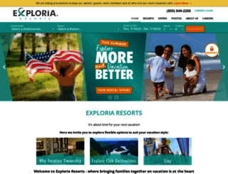 exploriaresorts.com screenshot