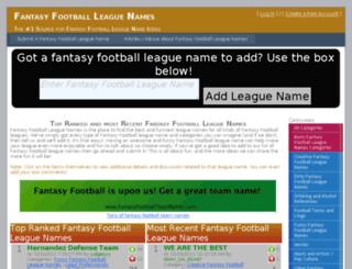 fantasyfootballleaguenames.com screenshot