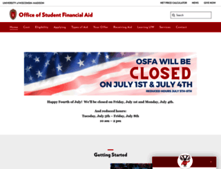 finaid.wisc.edu screenshot