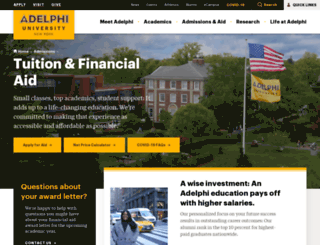 financial-aid.adelphi.edu screenshot
