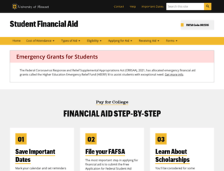 financialaid.missouri.edu screenshot