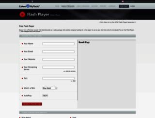 flashplayer.listen2myradio.com screenshot