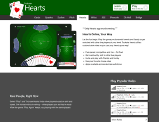 hearts.trickstercards.com screenshot