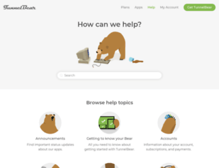 help.tunnelbear.com screenshot