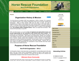 horserescuefoundation.com screenshot