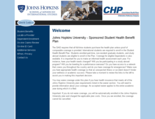 jhu-sais.consolidatedhealthplan.com screenshot
