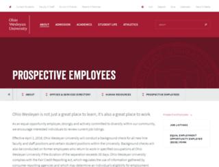 jobs.owu.edu screenshot