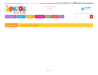 kidzpartystore.com screenshot