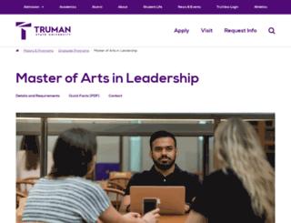 leadershipgrad.truman.edu screenshot