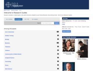 libraryguides.pba.edu screenshot