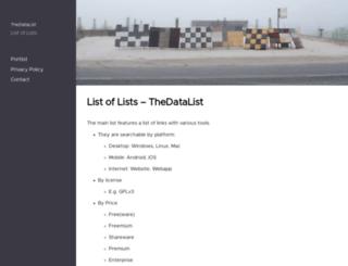 lists.thedatalist.com screenshot