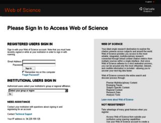 login.webofknowledge.com screenshot