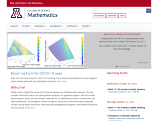 math.arizona.edu screenshot
